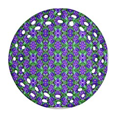 Pretty Purple Flowers Pattern Round Filigree Ornament (2side)