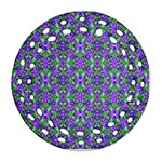 Pretty Purple Flowers Pattern Round Filigree Ornament (2Side) Back