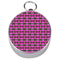 Pretty Pink Flower Pattern Silver Compasses