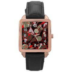 Artistic abstraction Rose Gold Leather Watch