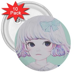 Spring Mint! 3  Buttons (10 pack)