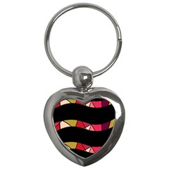 Abstract waves Key Chains (Heart)