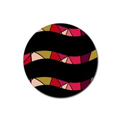 Abstract waves Rubber Round Coaster (4 pack)