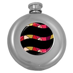 Abstract waves Round Hip Flask (5 oz)