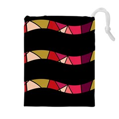 Abstract waves Drawstring Pouches (Extra Large)