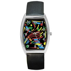 Optimistic abstraction Barrel Style Metal Watch