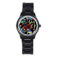Optimistic abstraction Stainless Steel Round Watch