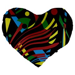 Optimistic abstraction Large 19  Premium Flano Heart Shape Cushions