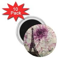 Purple Floral Vintage Paris Eiffel Tower Art 1.75  Button Magnet (10 pack)