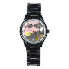 Decorative abstraction Stainless Steel Round Watch