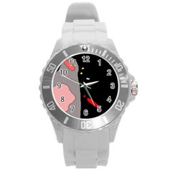 Crazy abstraction Round Plastic Sport Watch (L)