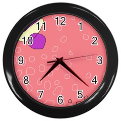 Pink abstraction Wall Clocks (Black)