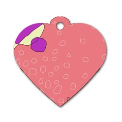 Pink abstraction Dog Tag Heart (Two Sides)