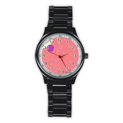 Pink abstraction Stainless Steel Round Watch