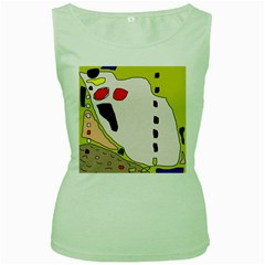 Yellow abstraction Women s Green Tank Top