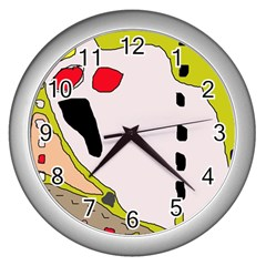 Yellow abstraction Wall Clocks (Silver)