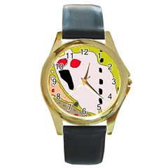 Yellow abstraction Round Gold Metal Watch
