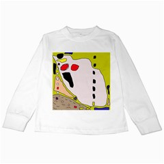 Yellow abstraction Kids Long Sleeve T-Shirts