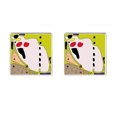 Yellow abstraction Cufflinks (Square)