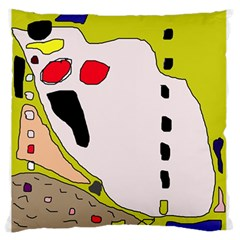 Yellow abstraction Large Flano Cushion Case (One Side)