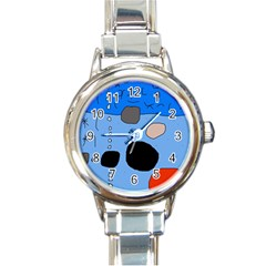 Blue abstraction Round Italian Charm Watch