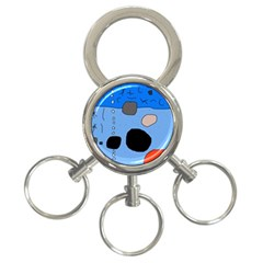 Blue abstraction 3-Ring Key Chains