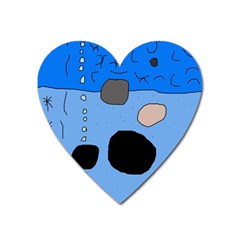 Blue abstraction Heart Magnet