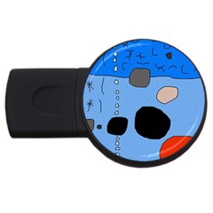 Blue abstraction USB Flash Drive Round (2 GB)