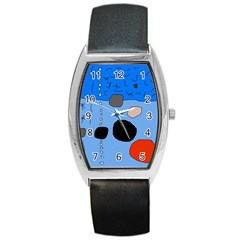 Blue abstraction Barrel Style Metal Watch