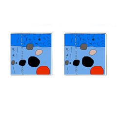 Blue abstraction Cufflinks (Square)