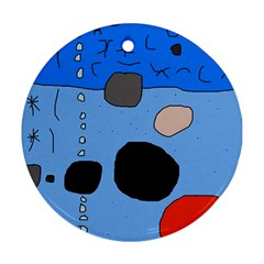 Blue abstraction Round Ornament (Two Sides)