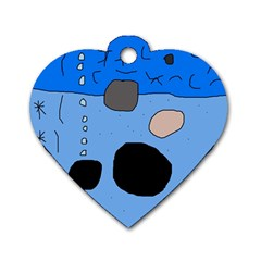 Blue abstraction Dog Tag Heart (One Side)