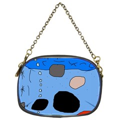 Blue abstraction Chain Purses (One Side)
