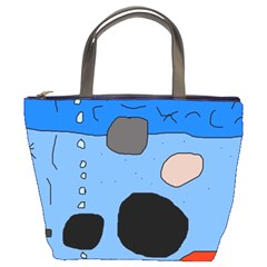 Blue abstraction Bucket Bags