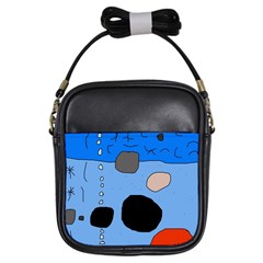 Blue abstraction Girls Sling Bags