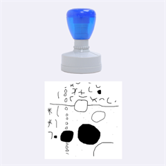 Blue abstraction Rubber Round Stamps (Medium)