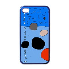 Blue abstraction Apple iPhone 4 Case (Black)