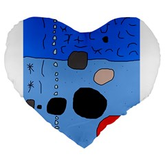Blue abstraction Large 19  Premium Heart Shape Cushions
