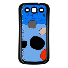 Blue abstraction Samsung Galaxy S3 Back Case (Black)