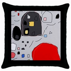 Playful abstraction Throw Pillow Case (Black)