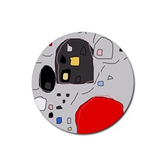 Playful abstraction Rubber Coaster (Round)