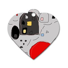 Playful abstraction Dog Tag Heart (One Side)