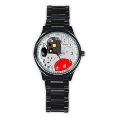 Playful abstraction Stainless Steel Round Watch