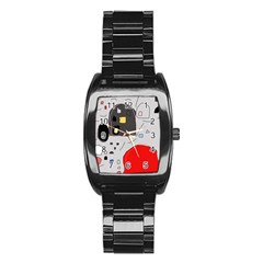 Playful abstraction Stainless Steel Barrel Watch