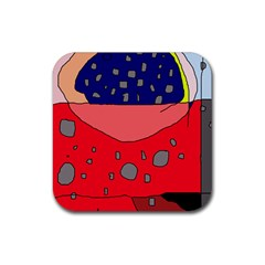 Playful abstraction Rubber Square Coaster (4 pack)