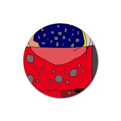Playful abstraction Rubber Round Coaster (4 pack)