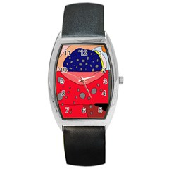 Playful abstraction Barrel Style Metal Watch