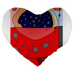 Playful abstraction Large 19  Premium Heart Shape Cushions