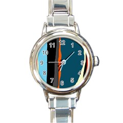 Colorful lines  Round Italian Charm Watch