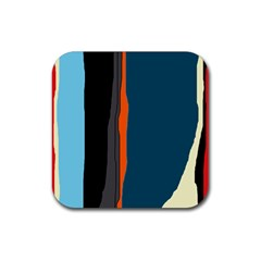 Colorful lines  Rubber Coaster (Square)